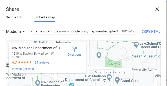 Embed code options from Google Maps