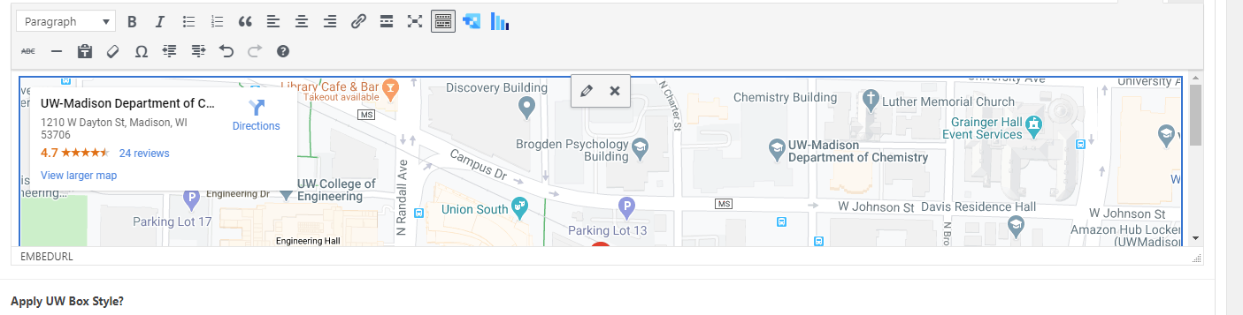 Google Map embedded in Text Block