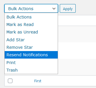 Choosing to resend notifications from bulk actions list