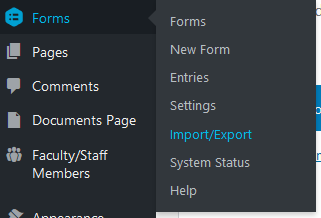 Access the Import and Export section within Gravity Forms