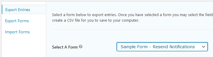 Choosing the form you want to export entries from