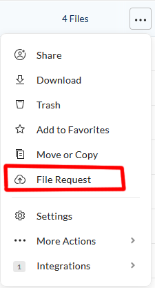 More options menu expanded with File Request option highlighted