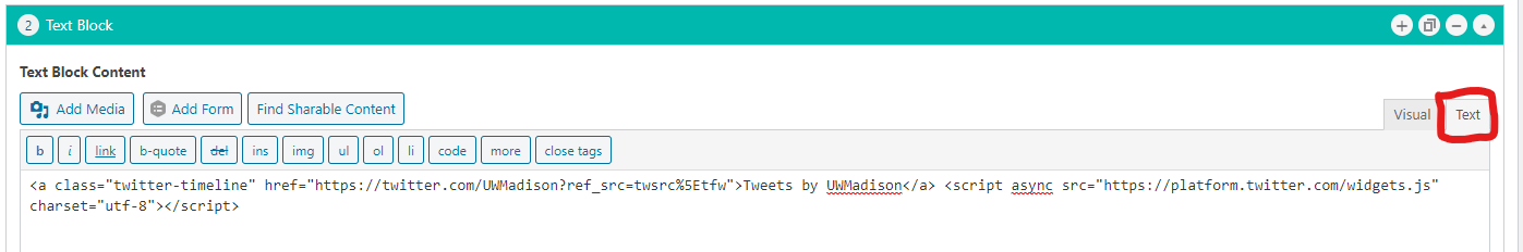 Pasting twitter code into text editor in WordPress