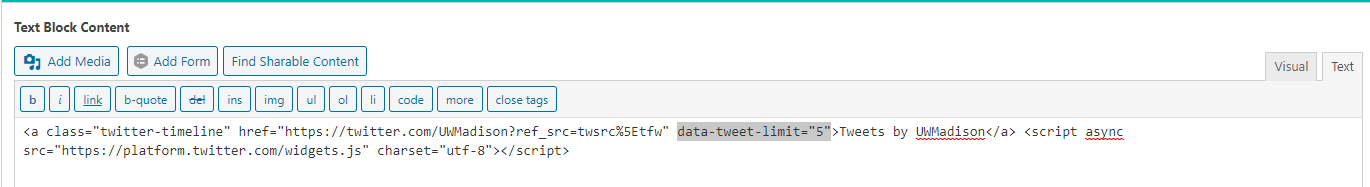 Code needed for limiting number of tweets shown