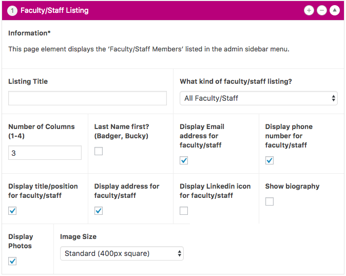 Faculty Staff Listing Page Element