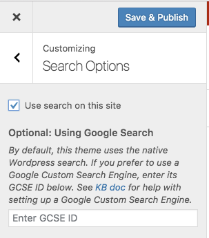 Search Options Screen