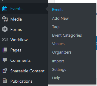 Events menu when hovered over