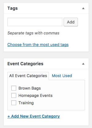 Tags and Categories Options