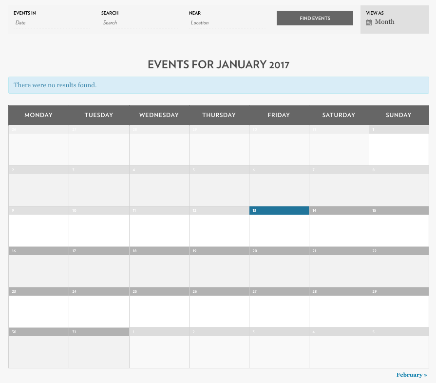 Full Events Calendar Default View
