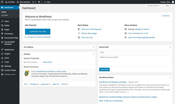 the wordpress default dashboard