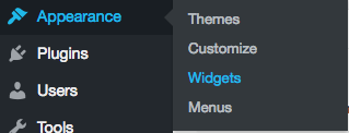 Appearance and Widgets menu