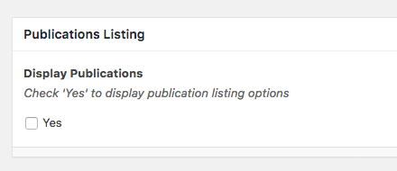 Publications Listing dialogue area