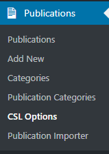 Citation Style Language options menu item