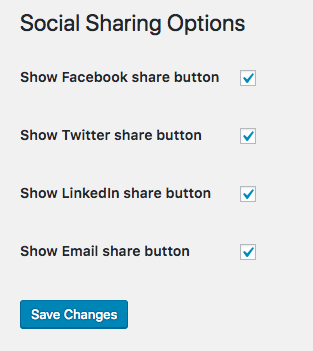 Social Share options screen