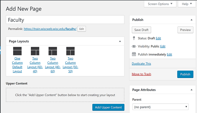 New page with Page Attributes section displayed