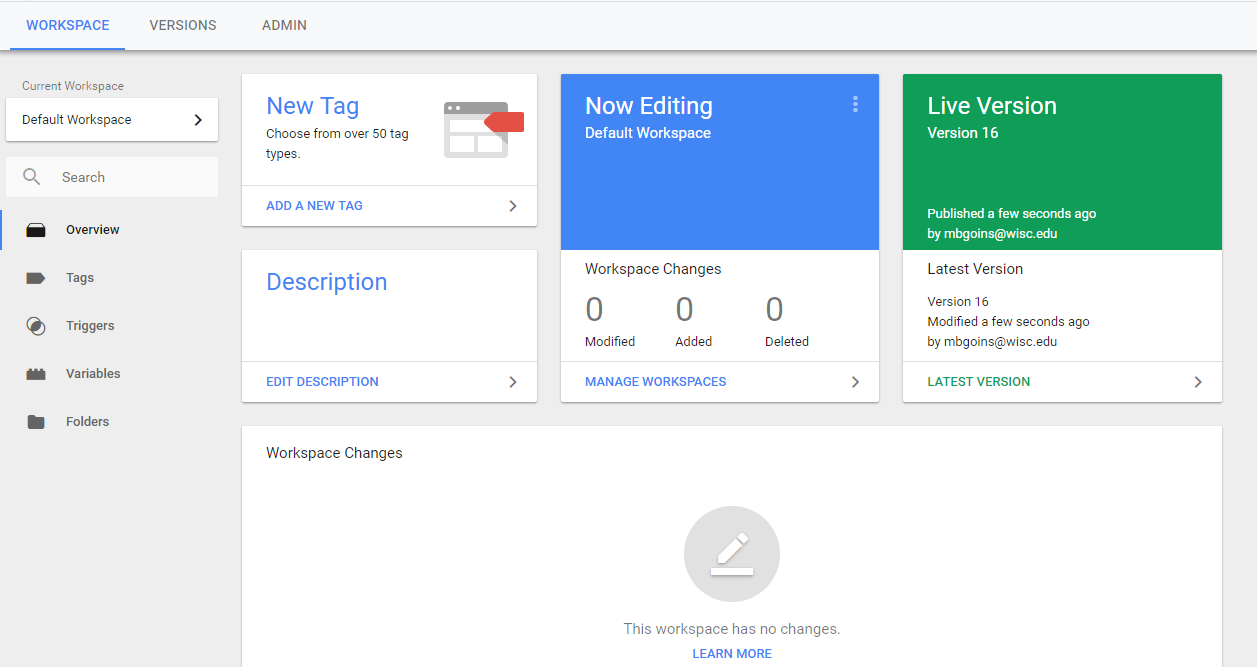 Google Tag Manager Workspace view