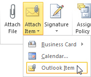 outlook item selection