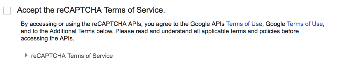 Accepting Terms of Service checkbox in Google's reCAPTCHA setup form