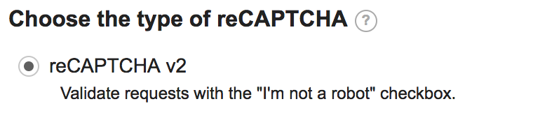 reCAPTCHA radio button options in Google's reCAPTCHA tool