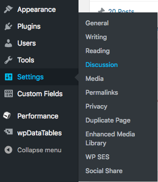 Select Settings from the Dashboard of your WiscWeb site