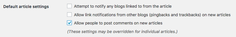 "Check the setting that says ""Allow people to post comments on new articles"""