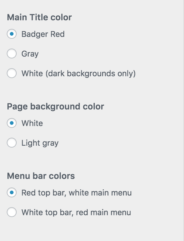 Color Options in Customizer