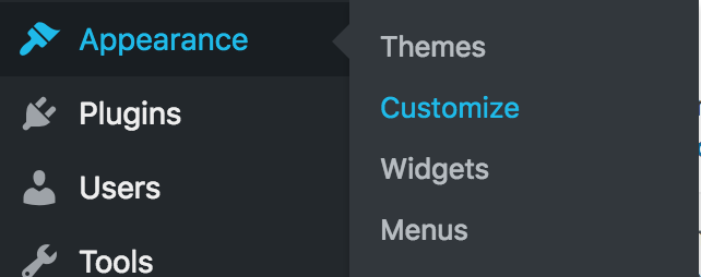 To locate the Customizer, click on Appearance and then Customize