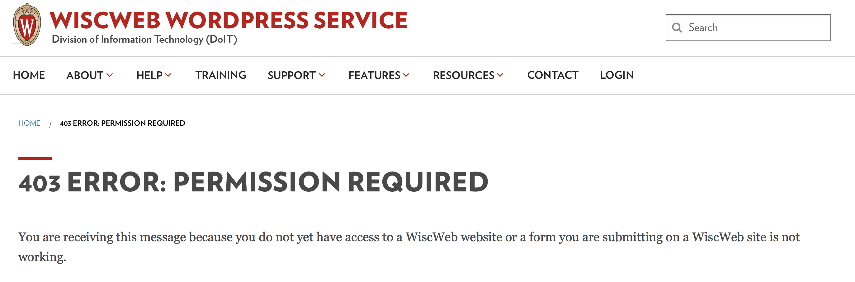 403 Error Message in WiscWeb