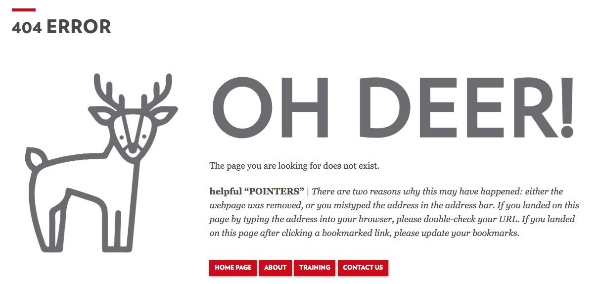 Custom 404 page example from the WiscWeb site