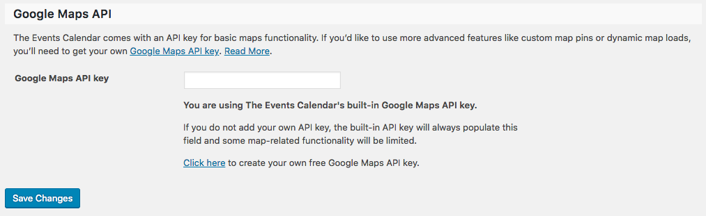 Add the API key to Events Calendar Pro settings