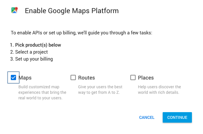 Click on the maps checkbox in the modal window
