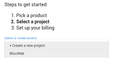 Select your project from the dropdown