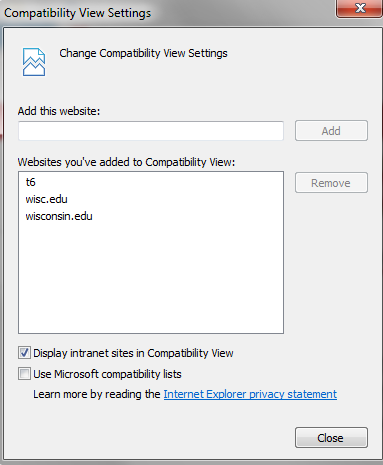 Compatibility view box with wisc.edu selected
