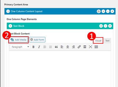 Add media in visual tab
