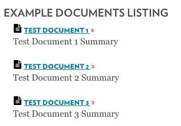 Documents List displayed in-page