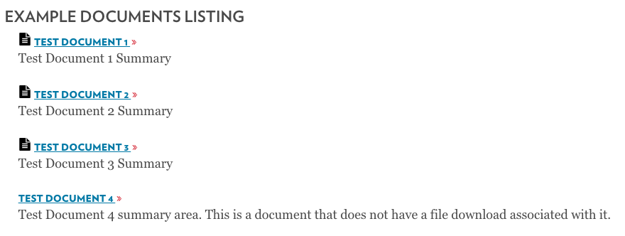 Documents Listing page element