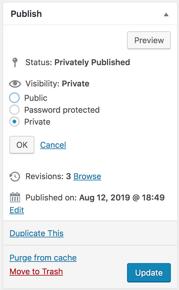 Publish a page as Private.