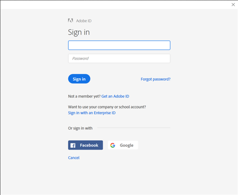 Adobe ID Sign in window