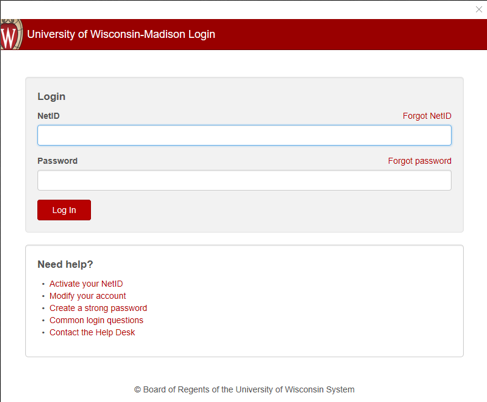 University of Wisconsin - Madison NetID Login window