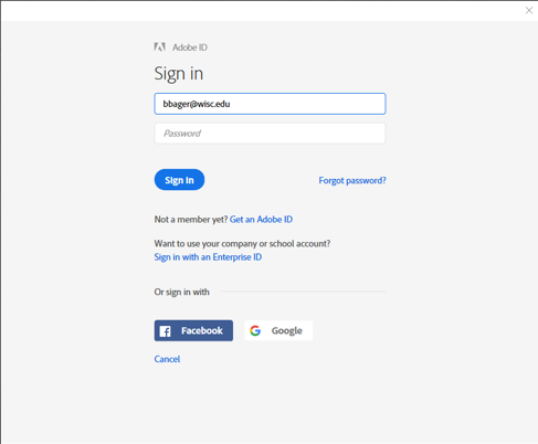 Adobe Sign in with UW account