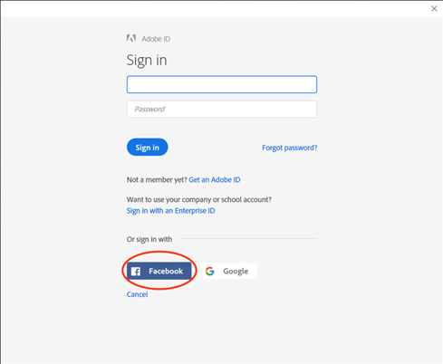 Adobe sign in Facebook