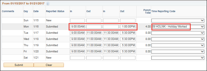 Punch Timesheet HOLWK TRC Partial Day