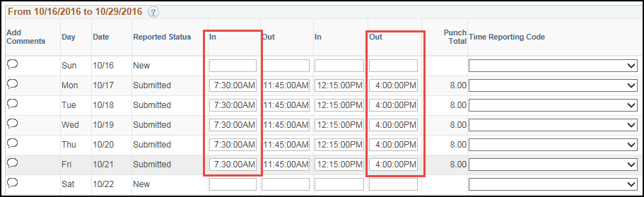 Manager Timesheet Punch Pattern