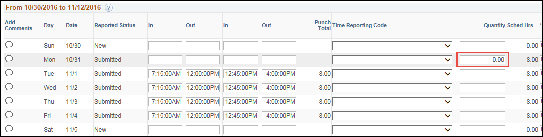 Manager Punch Timesheet Remove Scheduled Hours
