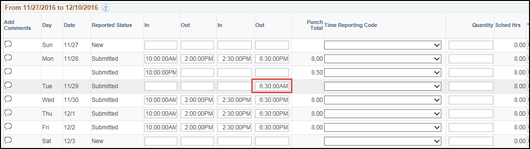 Manager Punch Timesheet Shift Over Midnight