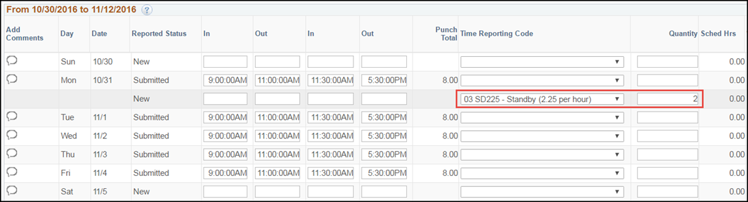 Manager Punch Timesheet Standby Pay