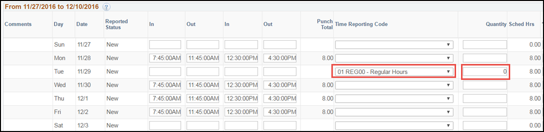 ESS Punch Timesheet Remove Scheduled Hours