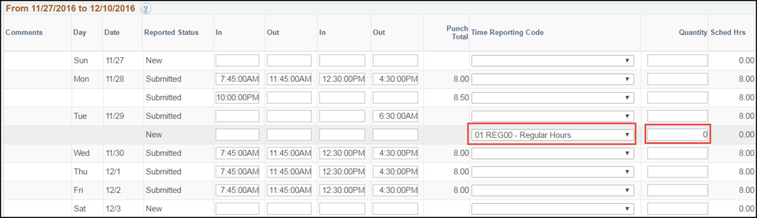 ESS Punch Timesheet Multiple Shifts with Schedule