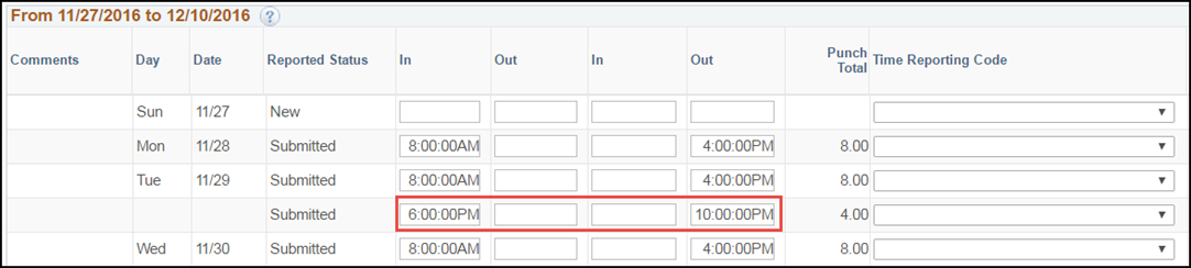 ESS Punch Timesheet Multiple Shifts