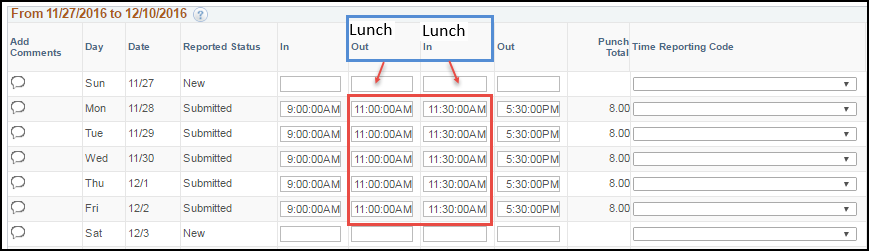 ESS Punch Timesheet with Lunch Punches